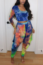 Blue Sexy Casual Polyester Spandex Cotton Blends Print Tie-dye Pullovers Pants U Neck Nine Points Sleeve Regular Sleeve Short Two Pieces