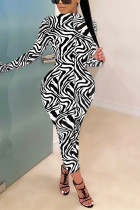 White Fashion Casual Print Basic Half A Turtleneck Long Sleeve Dress