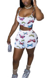 White Polyester Fashion Sexy adult Ma'am Print Two Piece Suits pencil Sleeveless Two Pieces