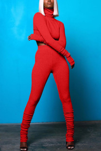 Red Casual Solid Fold Turtleneck Long Sleeve Two Pieces