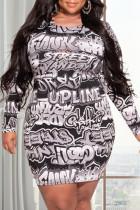 Black White Fashion Casual Print Basic O Neck Long Sleeve Plus Size Dresses