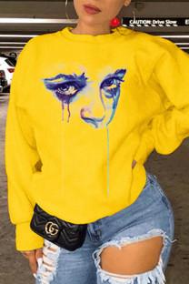 Yellow Fashion Casual Print Basic O Neck Tops