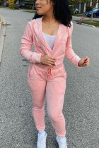 Pink Solid Split Joint Hooded Collar Long Sleeve Regular Sleeve Regular Two Pieces