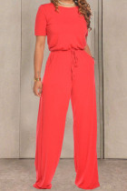 Red Fashion Casual Solid Cotton Short Sleeve O Neck Jumpsuits