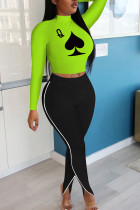Fluorescent green Polyester Fashion adult Ma'am OL Print Two Piece Suits pencil Long Sleeve Two Pieces
