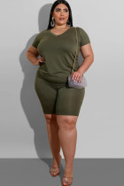 Army Green Polyester Fashion Casual adult Ma'am O Neck Patchwork Solid Two Piece Suits Plus Size