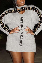 Grey Fashion Sexy Letter Print Hollowed Out Split Joint O Neck Long Sleeve Dress