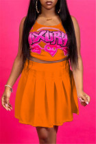 Orange Sexy Casual Letter Print Vests U Neck Sleeveless Two Pieces