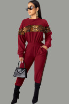 Wine Red Polyester Casual Print Two Piece Suits Patchwork Leopard pencil Long Sleeve Two-piece Pants Set