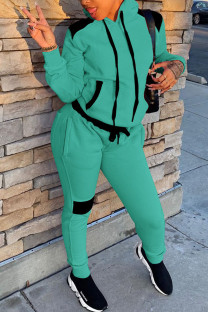 Fluorescent Green Casual Patchwork Hooded Collar Long Sleeve Two Pieces