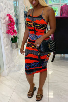 Red Polyester Fashion Sexy adult Ma'am Spaghetti Strap Sleeveless Slip Step Skirt Knee-Length Leopard Dresses
