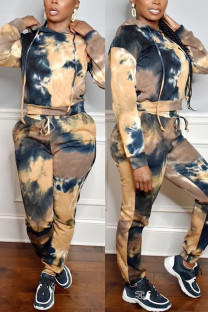 multicolor Fashion Casual Print Tie-dye Hooded Collar Long Sleeve Two Pieces