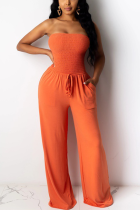 Tangerine Red Sweet Solid Split Joint Strapless Regular Jumpsuits