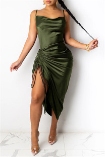 Green Fashion Sexy Solid Draw String Backless Square Collar Sling Dress