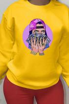 Yellow Sportswear Cotton Print O Neck Tops