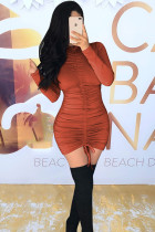 Red Polyester Street Fashion adult Cap Sleeve Long Sleeves O neck Pencil Dress Mini Draped backless Soli