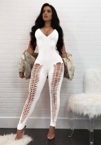 White Polyester Backless Solid Fashion sexy Jumpsuits & Rompers