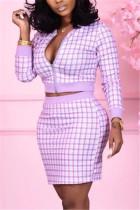 Light Purple Fashion Casual Plaid Print Basic Zipper Collar Long Sleeve Two Pieces