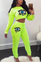 Fluorescent green OL Print Sequin Eyes Printed Skinny Long Sleeve Two Pieces