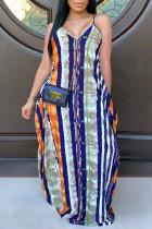 multicolor Polyester Sexy Spaghetti Strap Sleeveless V Neck Swagger Floor-Length Print Dresses