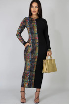 Black Polyester Sexy Cap Sleeve Long Sleeves O neck Step Skirt Ankle-Length Patchwork Snake pattern Print