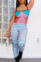Multicolor Sexy Casual Print Backless Square Collar Skinny Jumpsuits