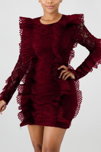 Wine Red Fashion Solid Split Joint O Neck A Line Dresses