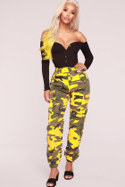 Yellow Cotton Zipper Fly Button Fly Mid Metal Zippered pencil Pants Pants