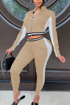 Khaki Fashion Solid Split Joint Zipper Collar Long Sleeve Two Pieces