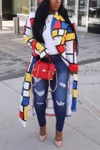Yellow Fashion Print Split Joint Turndown Collar Outerwear