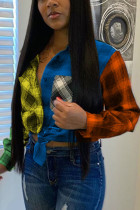 Yellow and blue Fashion Adult Elegant Polyester Plaid Print Split Joint Turndown Collar Tops