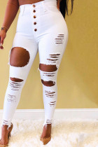 White Denim Button Fly Mid Solid Hole pencil Pants Bottoms