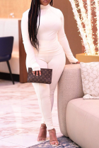 White Sexy Solid Split Joint Half A Turtleneck Long Sleeve Two Pieces
