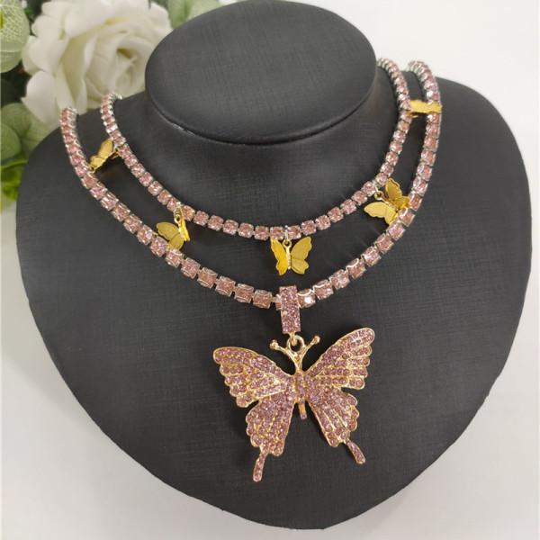 Pink Gold Fashion Sexy Butterfly Necklace