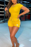Yellow Fashion Casual adult Ma'am Letter Two Piece Suits Straight Short Sleeve Two Pieces