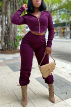 purple Fashion Casual Polyester Cotton Blends Patchwork Solid Split Joint Cardigan Pants Hooded Collar Long Sleeve Regular Sleeve Short Two Pieces