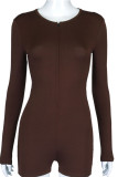 Brown Sexy Solid Draped zipper Polyester Long Sleeve O Neck Jumpsuits