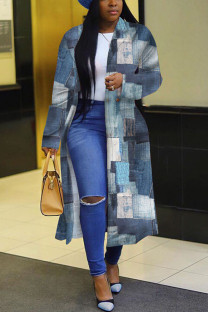Grey Fashion Print Split Joint Turndown Collar Outerwear