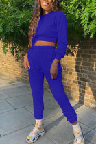 Royal blue Fashion Adult Living Polyester Solid Split Joint O Neck Long Sleeve Regular Sleeve Short Two Pieces