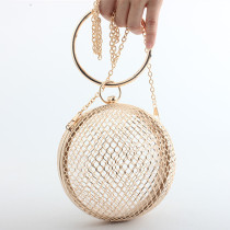 Gold Fashion Casual Solid Hollow Chain Crossbody Bag