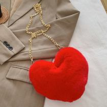 Red Fashion Casual Solid Heart Shaped Crossbody Bag