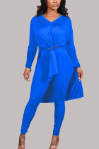 Blue Fashion Casual Milk Fiber Patchwork Solid Slit V Neck Long Sleeve Cap Sleeve Long Two Pieces