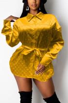 Yellow Fashion Casual Print Basic Turndown Collar Tops