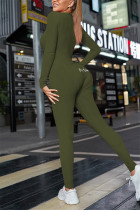 Army Green Casual Living Solid Embroidered V Neck Skinny Jumpsuits