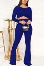 Blue Casual Polyester Solid Pullovers Pants Basic O Neck Long Sleeve Regular Sleeve Short Two Pieces