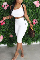 White Polyester Fashion Sexy adult Patchwork Solid Two Piece Suits pencil Sleeveless Two Pieces