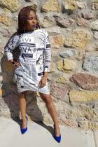 White Polyester Fashion Cap Sleeve Long Sleeves O neck Step Skirt skirt Print