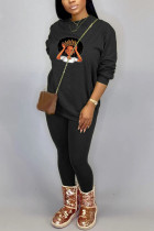Black Sportswear Print Split Joint O Neck Long Sleeve Two Pieces