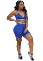 Blue Bright Sexy & Club Sleeveless Two Piece Clothes