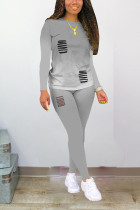 Grey Polyester Sexy Print Hole Regular Long Sleeve Two Pieces